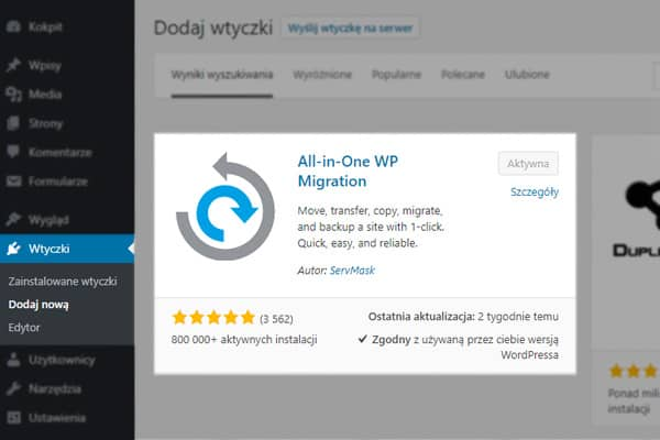 All in one WP migration instalacja - przeniesienie strony wordpress