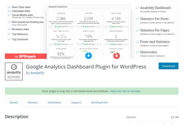 wtyczka Google Analytics Dashboard