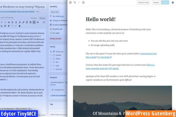 poprzedni edytor vs wordpress gutenberg