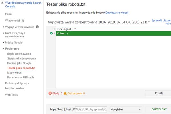 testowanie robots.txt