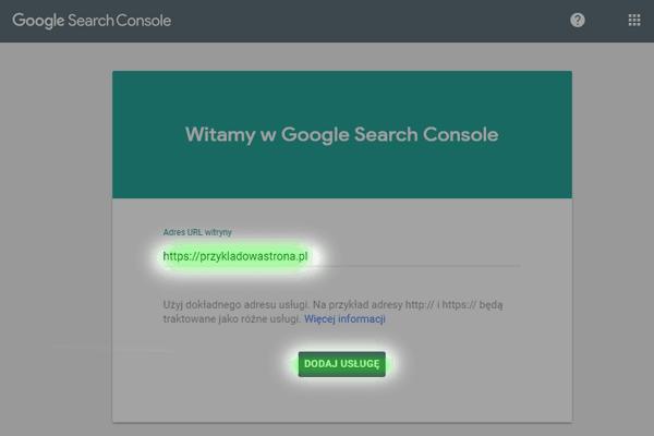 dodawanie witryny - google search console
