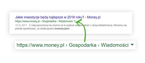 breadcrumbs w wyszukiwarce google