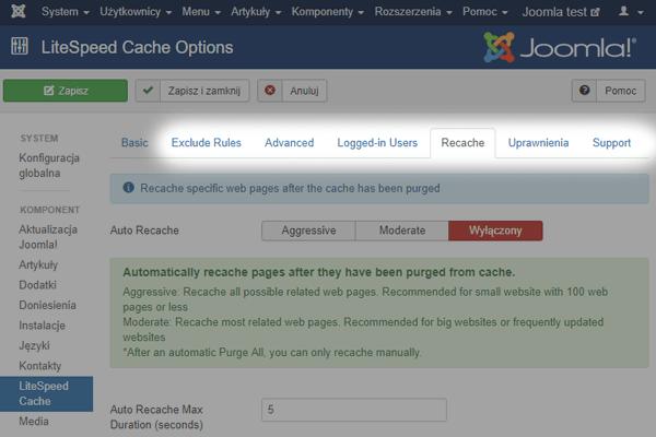 zaawansowana konfiguracja litespeed cache joomla