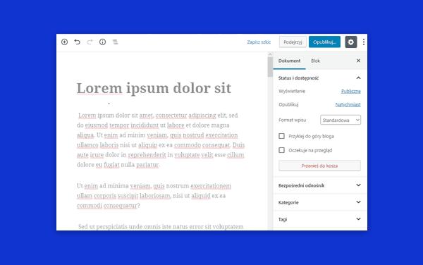 skroty klawiszowe - wordpress gutenberg