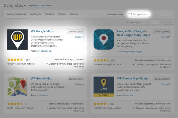 sposob 1 - zainstaluj wtyczke wp google maps