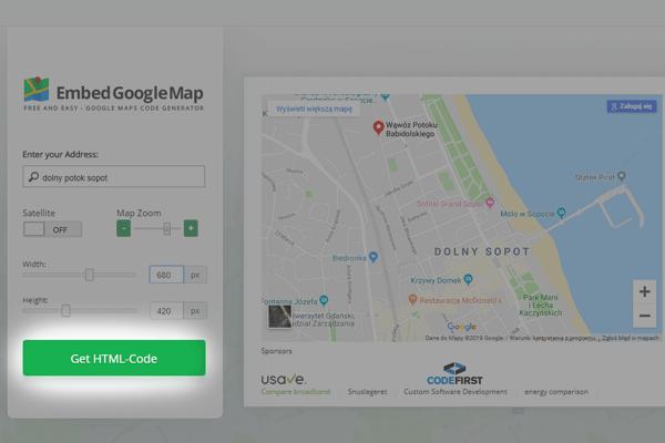 sposob 2 - kod html google maps
