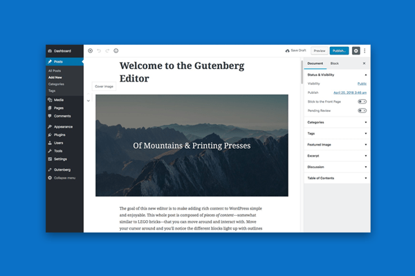 historia WordPress - gutenberg - 2018