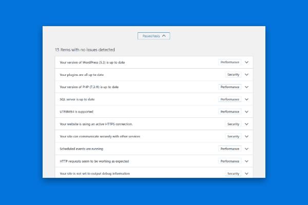 nowy wynik stanu witryny WordPress