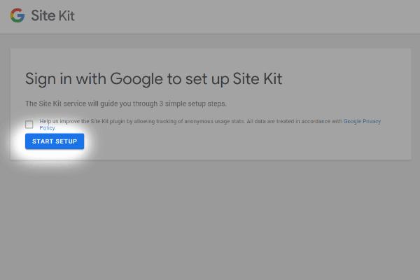 krok 2 - konfiguruj site kit google wordpress