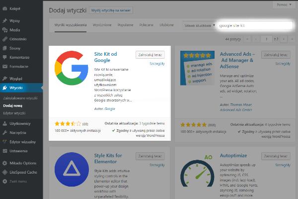 krok 1 - zainstaluj plugin google site kit