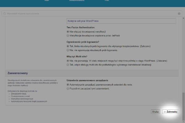 instalacja wordpress - konfigurowanie ustawien