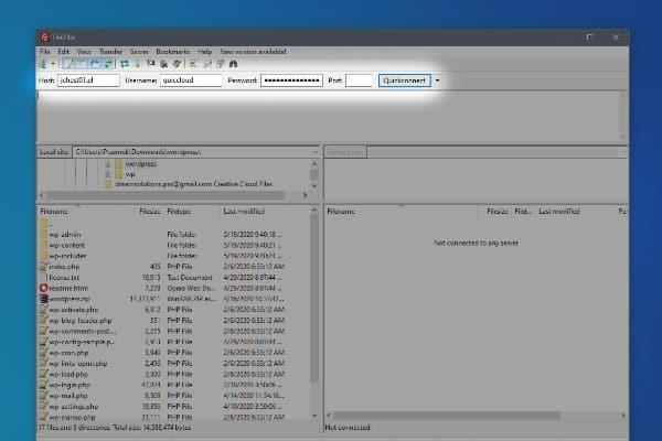 instalacja wordpress - laczenie ftp