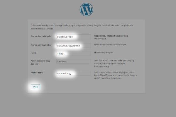 instalacja wordpress - ustawianie bazy danych