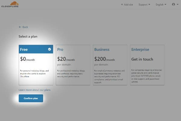 wybieranie planu cloudflare