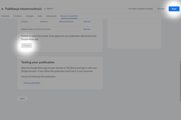 ukonczenie dodawania strony w google news