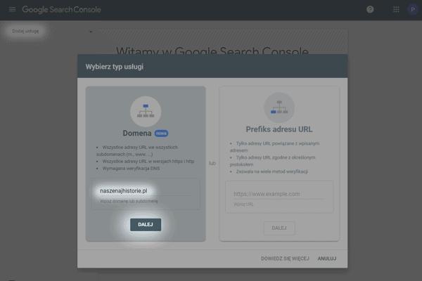 rejestracja strony w google search console