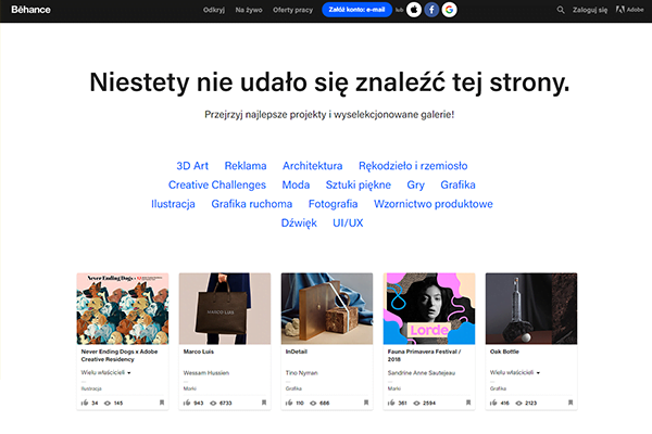 strona 404 - behance