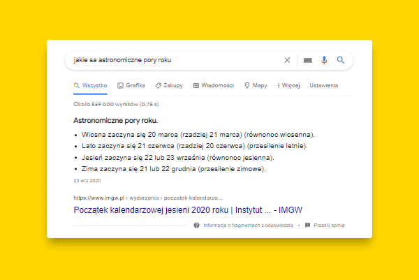 google featured snippet - lista